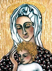 <strong>TITEL:</strong> MADONNA - <strong>FORMAT:</strong> 30 x 40 CM<br /><strong>MATERIAL:</strong> ECHTPIGMENTE / ACRYL / BLATTGOLD AUF HOLZ